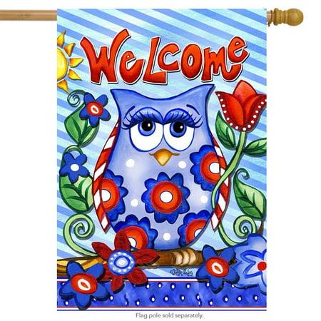 owl welcome spring house flag primitive floral patriotic 28
