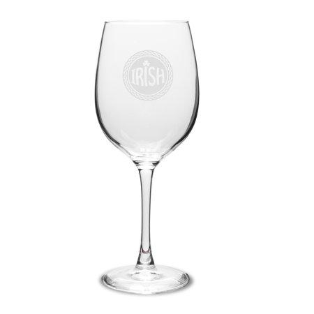 Irish Celtic Logo Deep Etched 16 oz Classic White Wine Glass