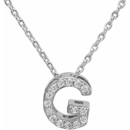 CZ Sterling Silver Block Initial