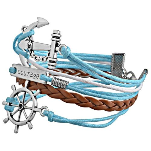 Zodaca Fashion Leather Cute Infinity Charm Bracelet Jewelry Silver lots Blue/Brown Voyage
