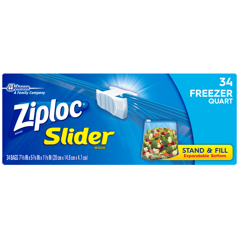 Ziploc Slider Freezer Bags, Quart, 34 Count