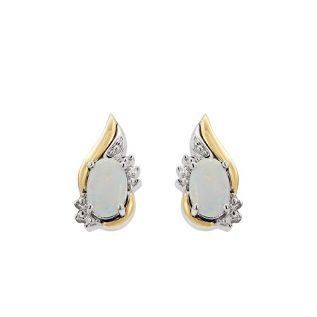 Brilliance Fine Jewelry Sterling Silver & 10K Yellow Gold Pear Shape Earrings w/Created Opal & Diamond Accent Womens Gold Accent