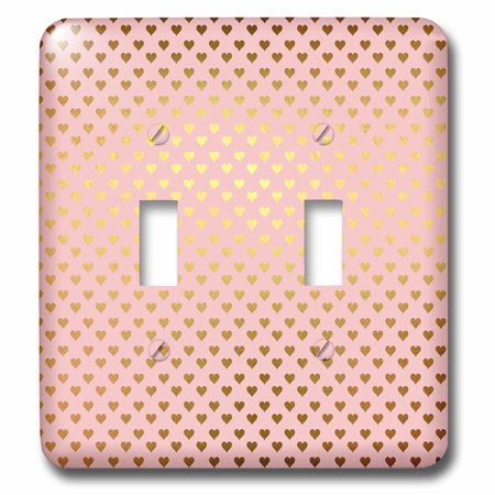 3dRose Watercolor Pattern in Pink with Gold Glitter Hearts - Double Toggle Switch - Heart Glitter