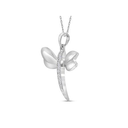 14kt White Gold Womens Round Diamond Butterfly Bug Winged Pendant .03 Cttw - image 1 of 2