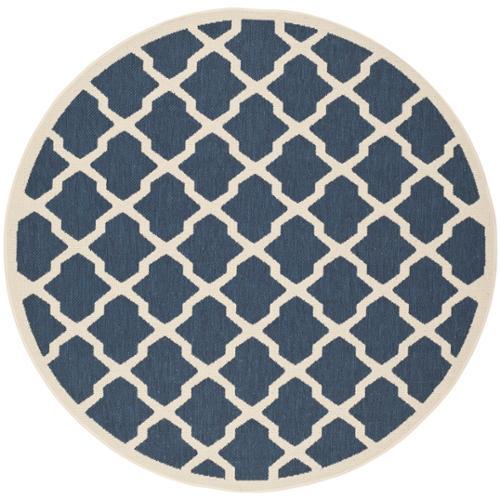 Safavieh  Courtyard Moroccan Trellis Navy/ Beige Indoor/ Outdoor Rug (7' Round)