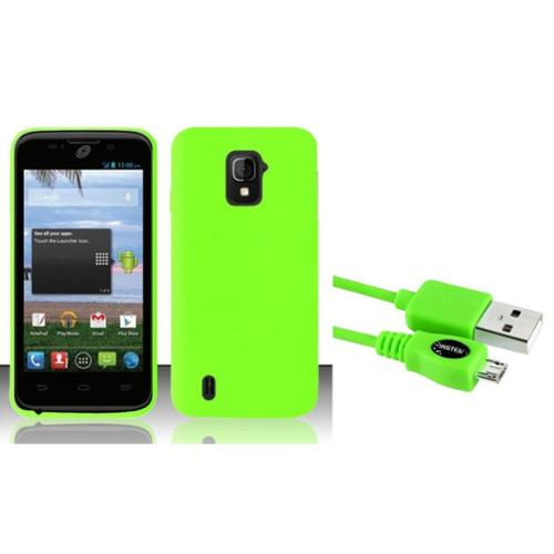 Insten For ZTE Majesty Z796c StraightTalk Silicon Skin Case Neon Green SC (+ Free Micro USB Charging Cable)