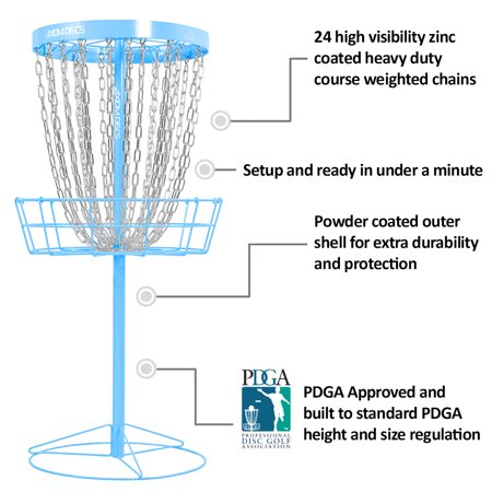 Axiom Discs Pro 24-Chain Disc Golf Basket - Light Blue