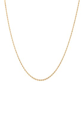 """Brilliance Fine Jewelry 10K Yellow Gold Polished Rope Chain Necklace, 18"""""""