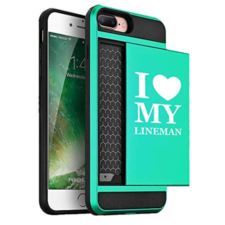 Wallet Credit Card ID Holder Shockproof Hard Case Cover for Apple iPhone I Love Heart My Lineman (Seafoam-Green, for Apple iPhone 7 Plus/iPhone 8