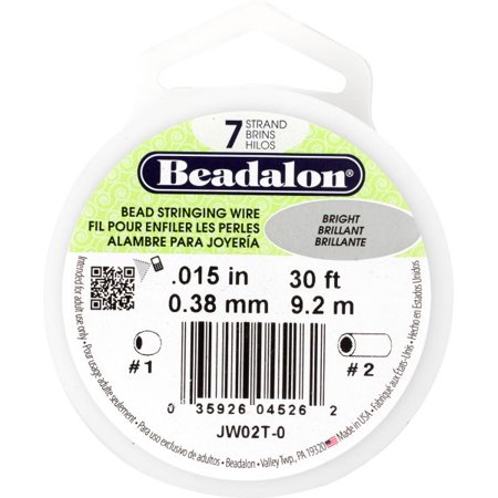 Beadalon Bright Silver Bead Stringing Wire, 30 (Bead Stringing Wire)