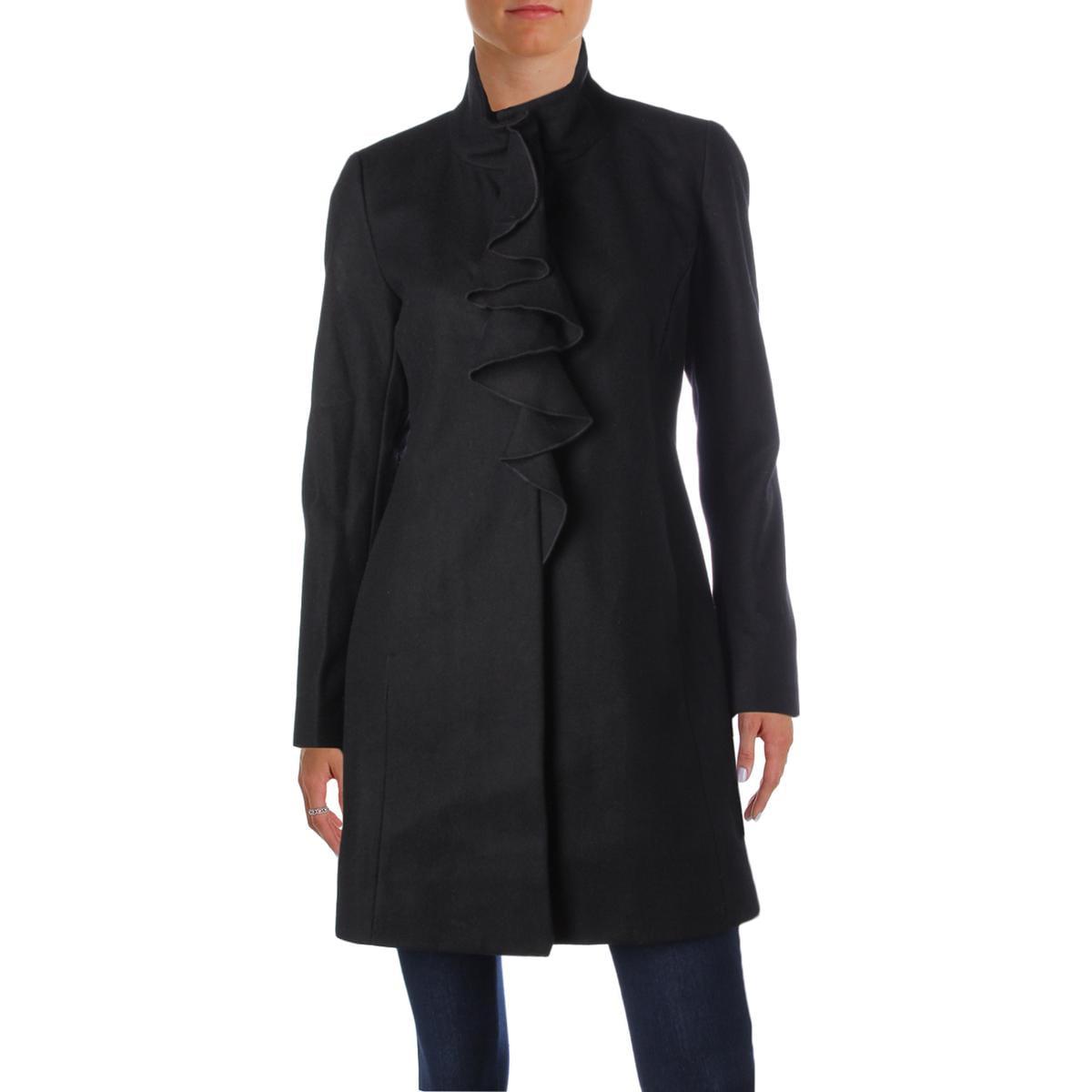 T Tahari Womens Kate Wool Ruffled Trench Coat by T Tahari