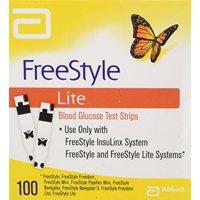 FreeStyle Lite Blood Glucose Test Strips Abott No Code 100 Strips