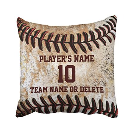 WinHome Vintage Chic Personalized Senior Baseball Can Customized For Gift Polyester 18 x 18 Inch Square Throw Pillow Covers With Hidden Zipper Home Sofa Cushion Decorative Pillowcases