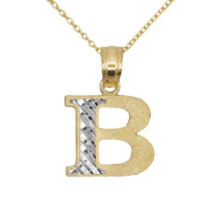 14k Yellow Gold Two Tone Letter B Initial with Diamond Cut Finish Pendant Necklace (No (14k White Gold Diamond Letter)