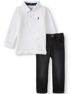 Garanimals Long Sleeve Polo Shirt & Stretch Denim Pants, 2pc Outfit Set (Toddler Boys)