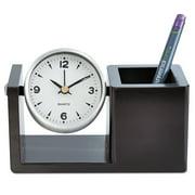 Universal Executive Desk Clock, Brushed Nickel/Dark Cappuccino