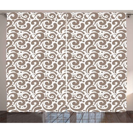 Art Curtains 2 Panels Set, Swirled Curved Bold Lines Brushstrokes Big and Little Polka Dots Circular Abstract, Window Drapes for Living Room Bedroom, 108W X 63L Inches, Cocoa White, by Ambesonne