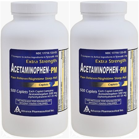 Acetaminophen PM Generic for Tylenol PM 1000 Caplets Pain Reliever & Nighttime Sleep Aid
