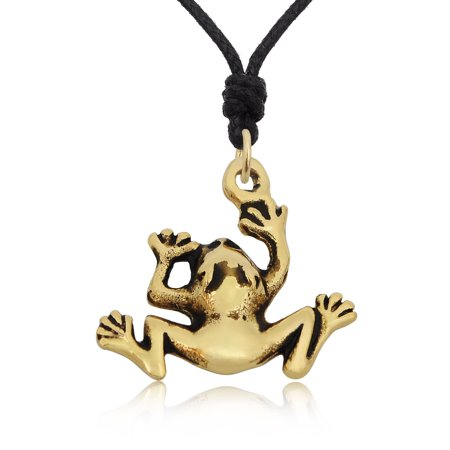 Frog Jewelry - Jumping Frog Prince Handmade Brass Charm Necklace Pendant Jewelry With Cotton Cord