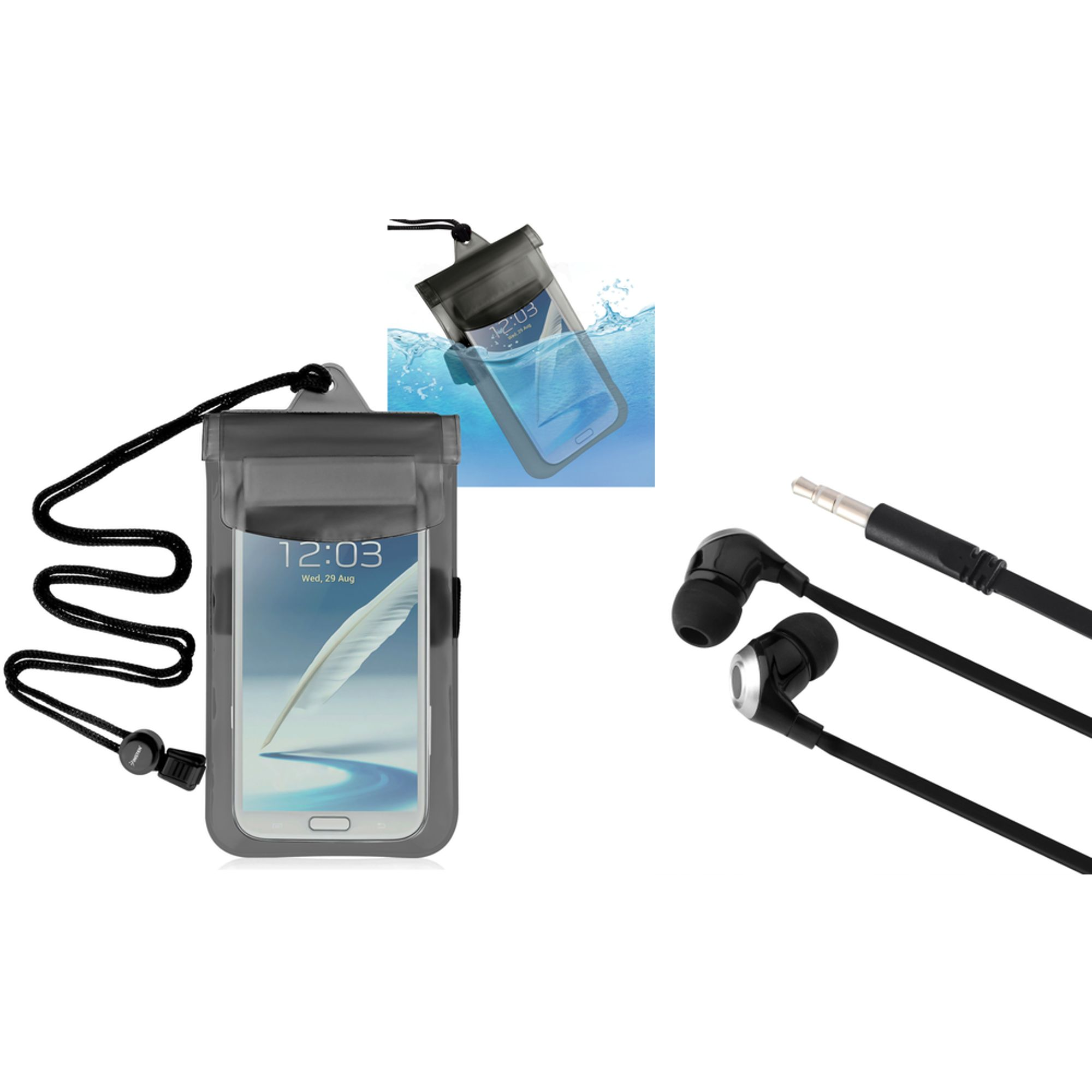 "Insten Clear Black Waterproof Bag Case+Hands-free Headset For Apple iPod Touch iPhone 6 4.7"" 6+ 6S Plus 5.5"" 5C 5S 4 4S"