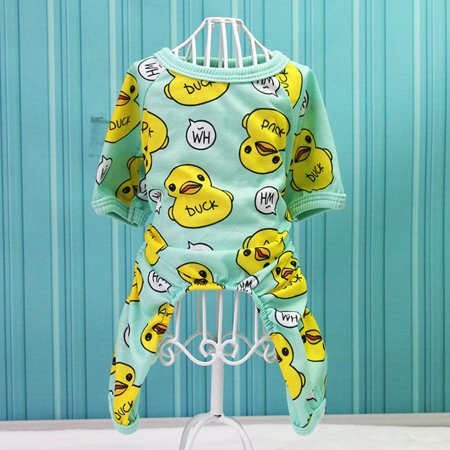 Cute Creative Duck Printing Pet Velvet Pajamas Coat Warm Nightwear Clothes for Dogs - Sleeping Duck