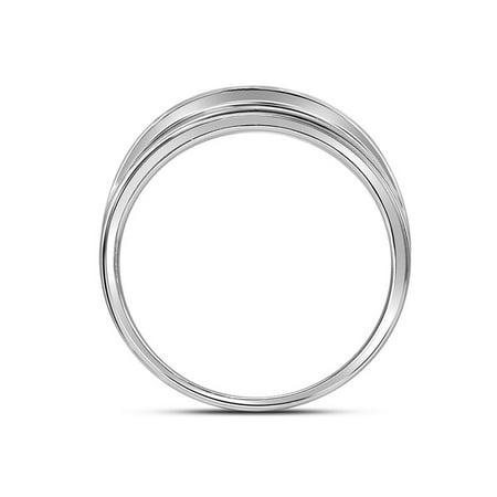 10kt White Gold Mens Round Diamond Wedding Band Ring 1.00 Cttw - image 1 de 2