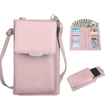 EEEKit Crossbody Bag Cell Phone Purse Wallet Women Leather Small Carrying Credit Card Slot Holder Shoulder Pouch Bag Ladies Wristlet Purse Pink Leather Wristlet