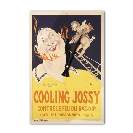 Cooling Jossy Vintage Poster (artist: Mauzan) France c. 1925 (Acrylic Wall Clock)