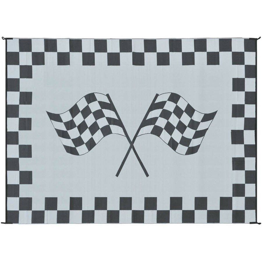 Ming's Mark Reversible Black & White Racing Flag Mat