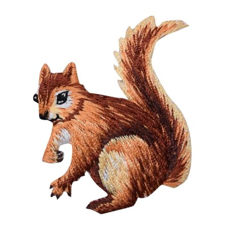 Natural Squirrel - Facing Left - Animals - Iron on Applique/Embroidered Patch