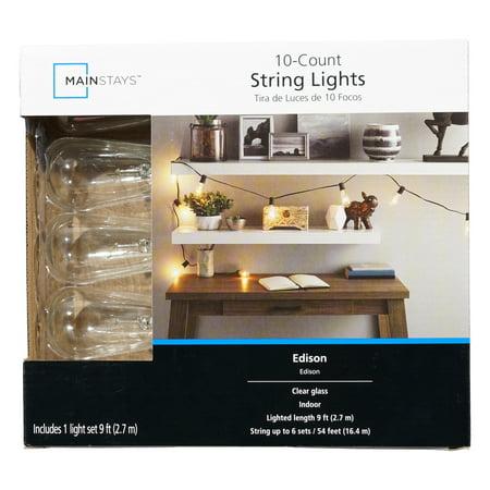 Mainstays 10ct Glass Edison St40 Light Set