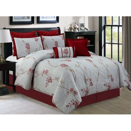 7-Pc Vine Floral Blossom Embroidery Comforter Set Burgundy Red Antique Silver Pewter (Antique Floral Queen)