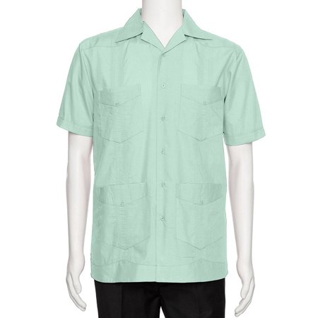 Gentlemens Collection Mens Short Sleeve Cotton Blend Guayabera Shirt Gentlemens Collection