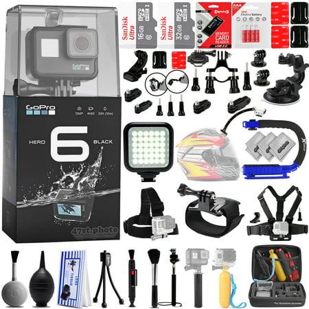 GoPro Hero 6 Black 12MP 4K Digital Camera w/ 48GB - 40PC Sport Action Bundle / Window Mount - Helmet Mount - Chest Mount - Handlebar Mount -  360 Degree Mount - X-GRIP - LED Video Light & MUCH MORE