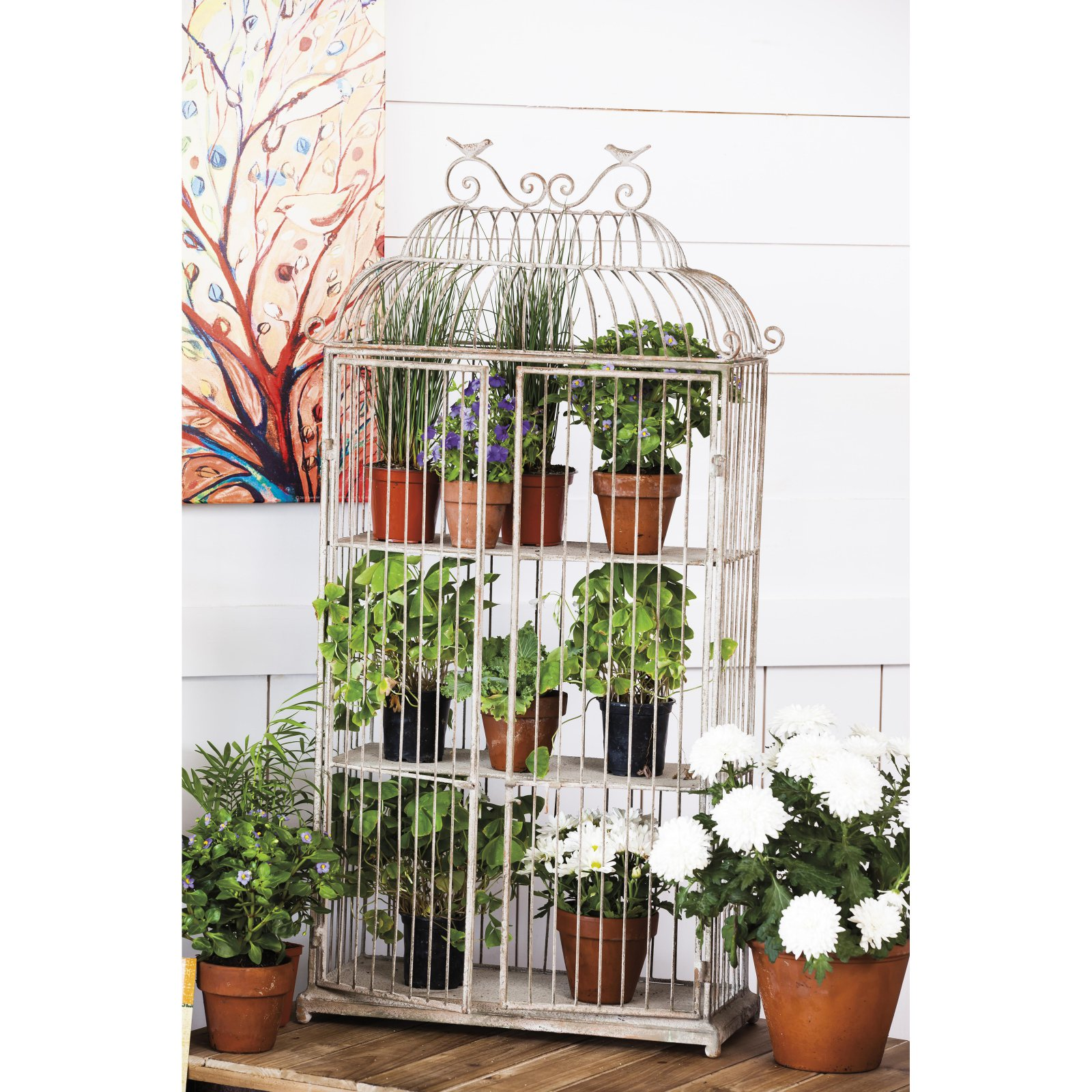 Evergreen Metal Birdcage Planter Shelf