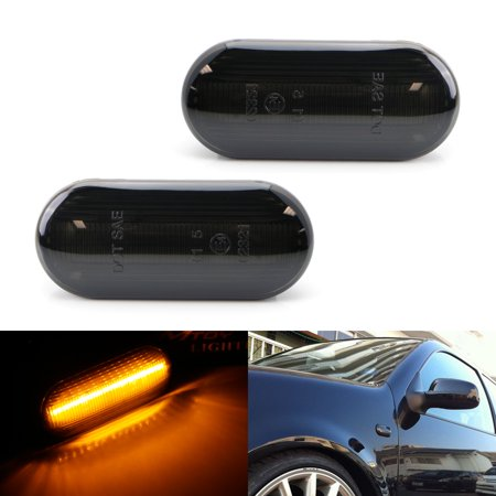 iJDMTOY (2) Smoked Lens Front Fender Full LED Side Marker Lights, Powered by 30pcs LED Diodes For Volkswagen MK4 Jetta GTI R32 Beetle, etc