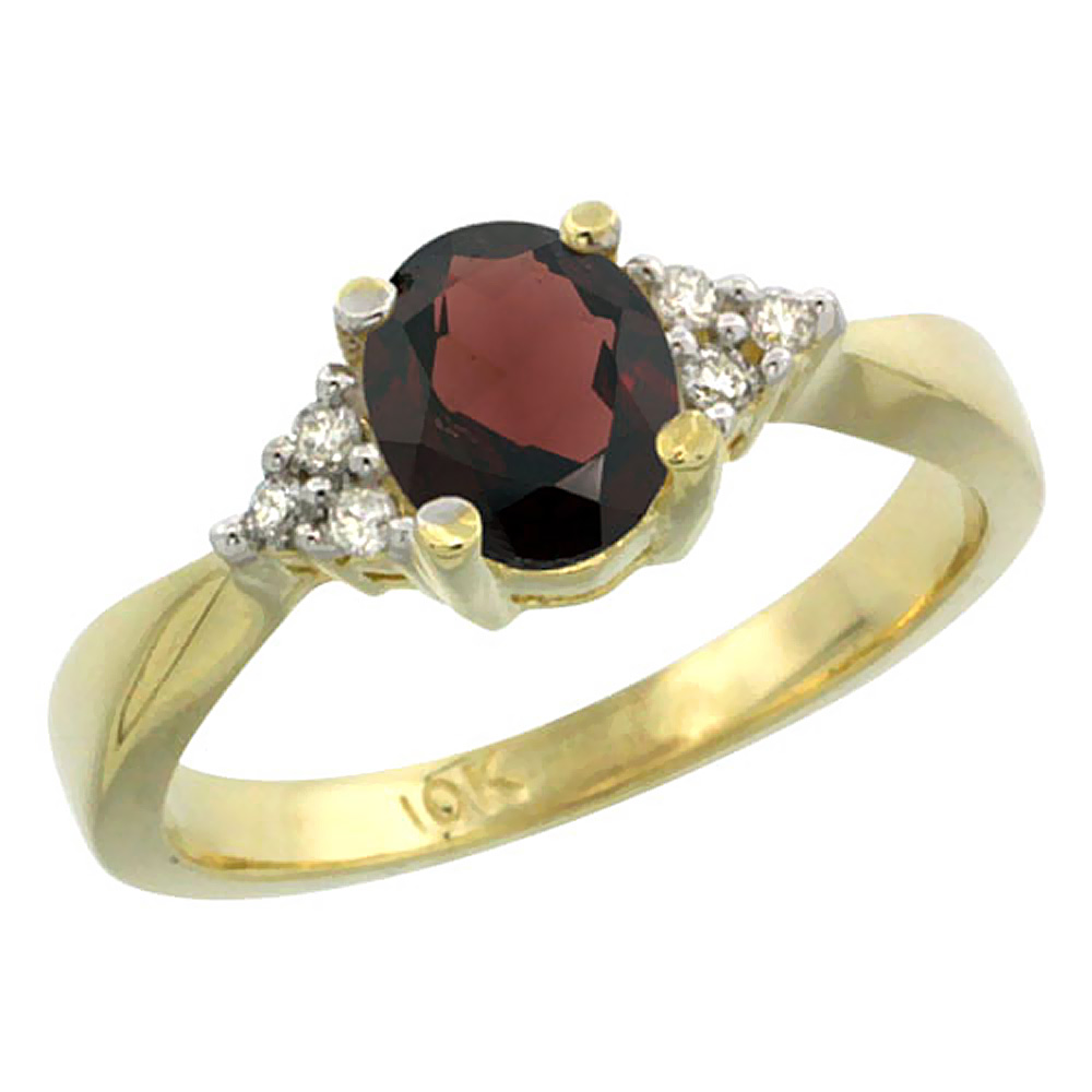 14K Yellow Gold Diamond Natural Garnet Engagement Ring Oval 7x5mm, sizes 5-10 by WorldJewels