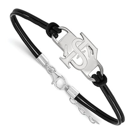 Sterling Silver LogoArt Official Licensed Collegiate 7in Florida State University (FSU) Small Center Leather Bracelet