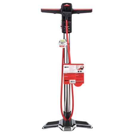 Schwinn Aircenter Pro Bike Floor Pump, Silver/Red