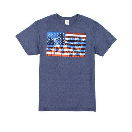 5dd49eebad Delta Pro Weight NEW Blue Mens Large L Palm US Flag Tee Crew Neck T-Shirt  027