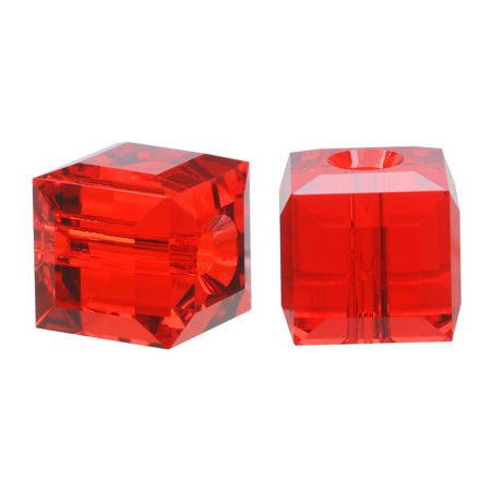 Swarovski Crystal, #5601 Cube Beads 6mm, 4 Pieces, Light Siam Red (Swarovski Diagonal Cube)
