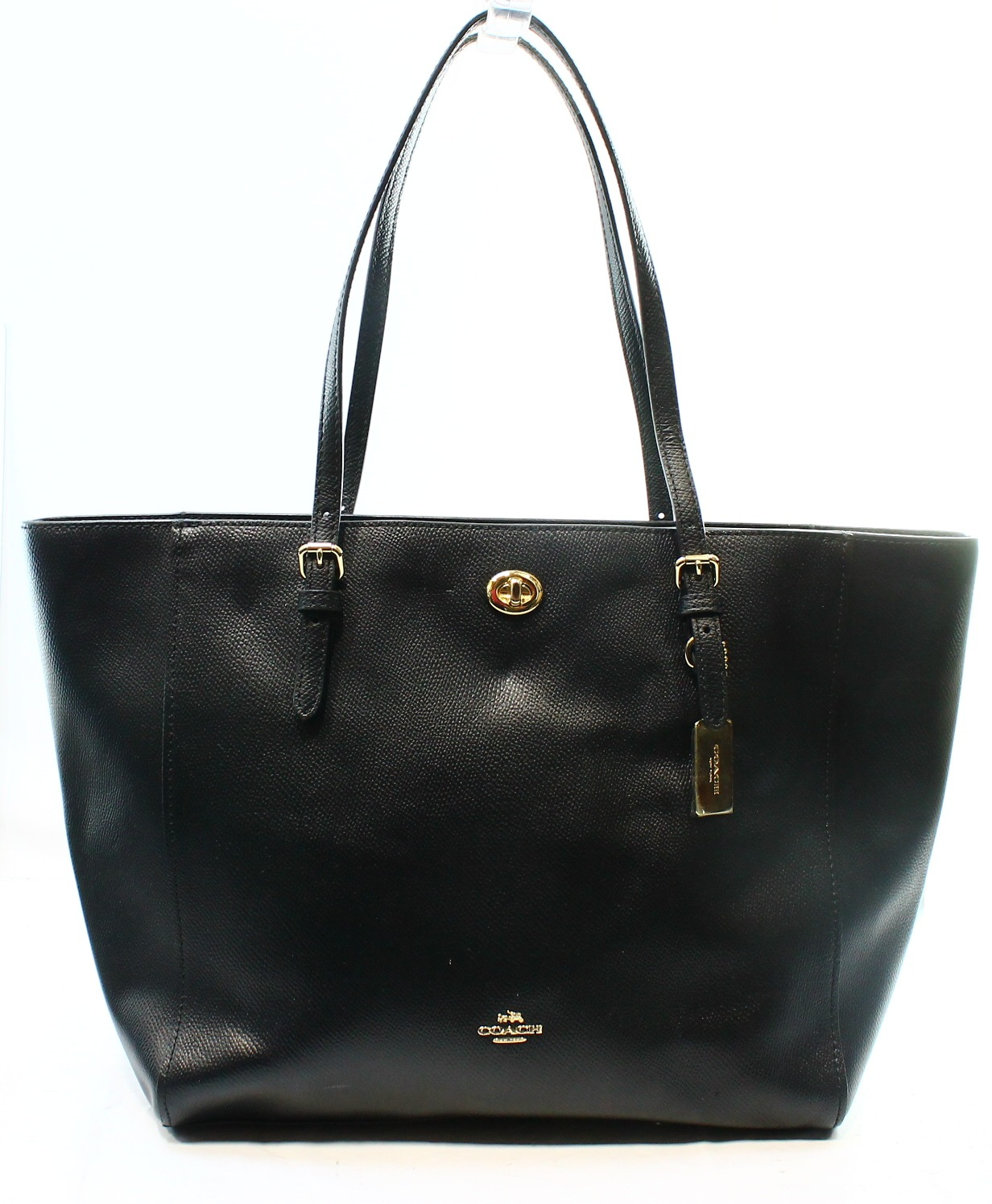 ... norway coach new black crossgrain leather turnlock zip top tote bag  purse 295 18822 64f4e 9d5a45784c1d3