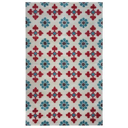 Ivory Tufted Rug (Gatney Rugs Marshall Area Rugs - OP8094 Contemporary Ivory Bulbs Tufted Leaves Wool Rug )