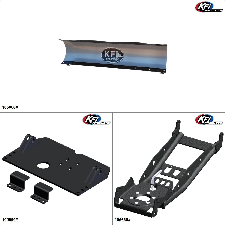 KFIProducts - UTV Plow Kit - 66'', Can-Am Maverick Max 1000R 2013-15 Black / Silver  #KK00002375_2