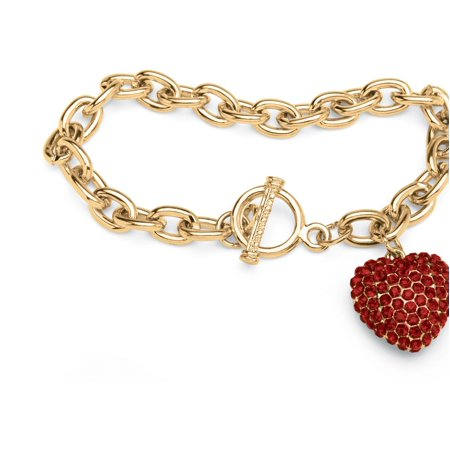 Crystal Heart Charm Birthstone Toggle Bracelet in Yellow Gold Tone Charm Pink Ribbon Toggle Bracelet