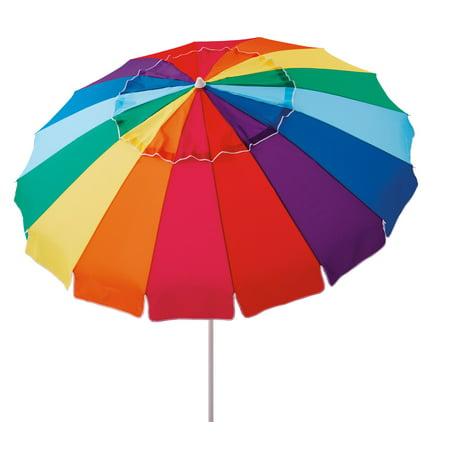 Mainstays 8 ft Beach Umbrella with Tilt, Sun Protection, Rainbow Color
