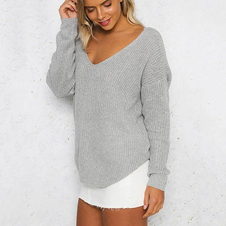 Women Loose Knitted Pullovers Plunge V Neck Twisted Long Sleeves Drop Shoulder Crossed Casual Jumper Top