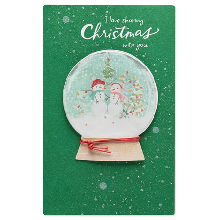 american greetings snow globe christmas card for wife with glitter