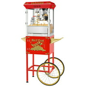 Superior Popcorn Company Hot and Fresh Popcorn Popper Machine With Cart - 8 oz, Red