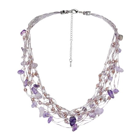 Elegant Purple Amethyst & Crystals on Silk Multi-Layered Statement (Purple Amethyst Crystal)